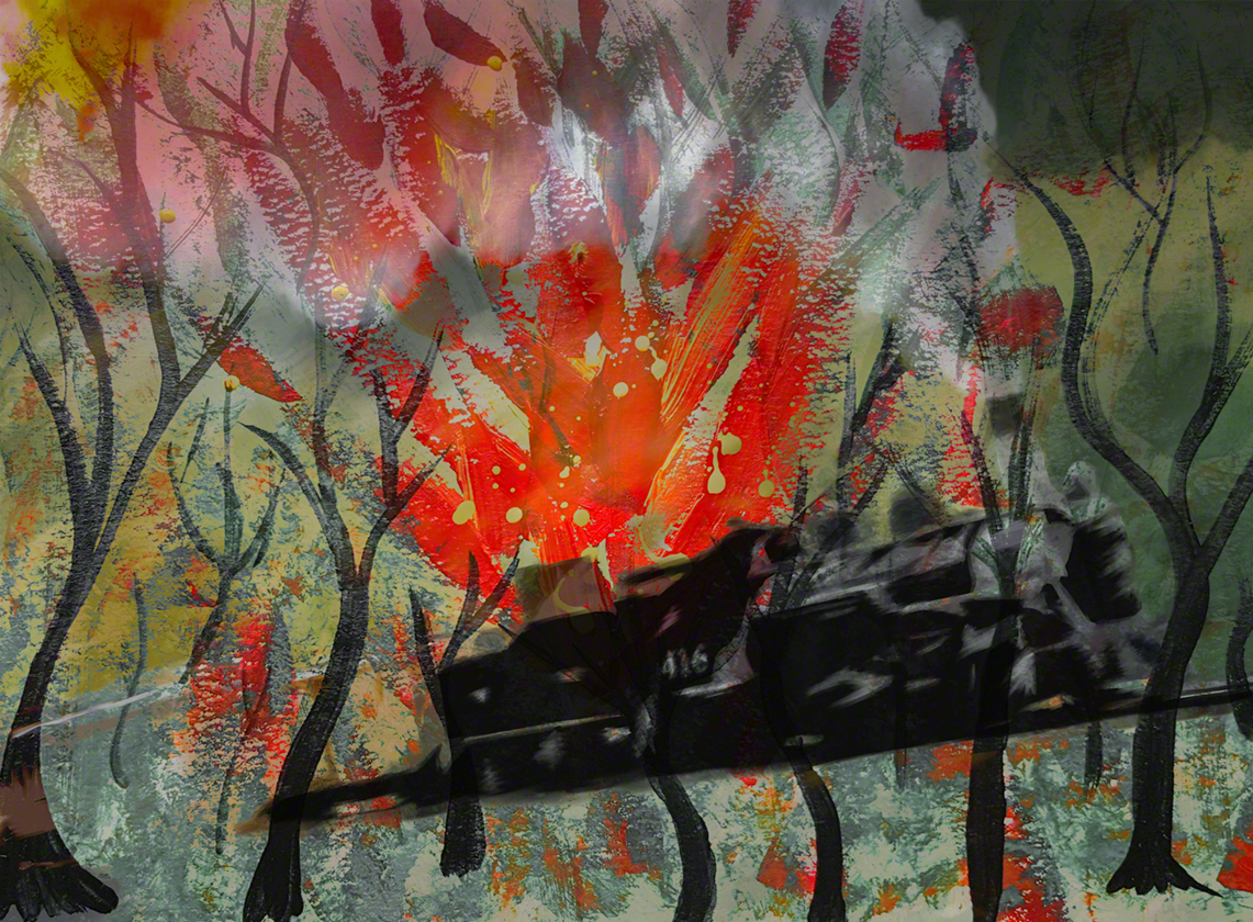 Mixed media: acrylic paint and digital painting in response to the fire started by the train in Durango, CO during the Summer 2018