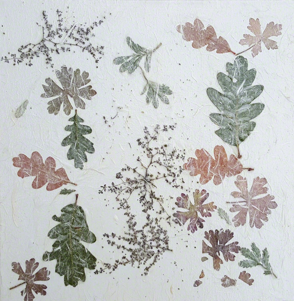 Collage of oak and other leaves with rice paper on canvas