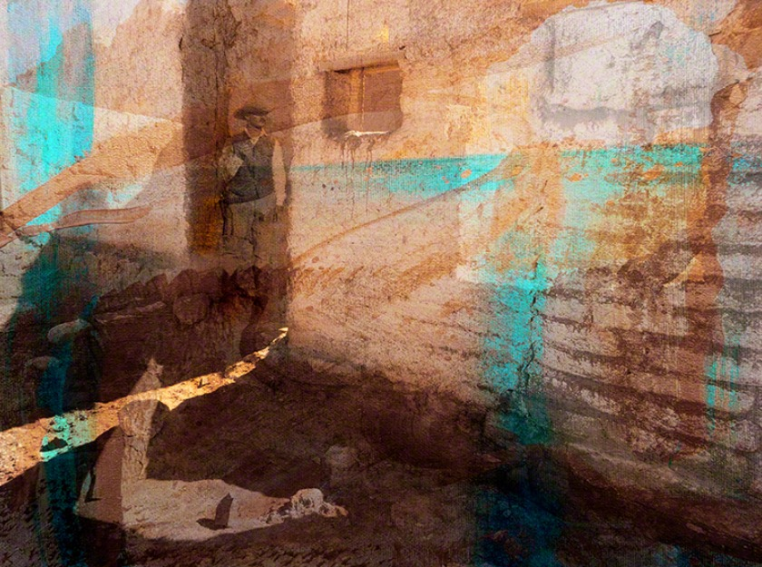 Mixed Media. Old photo of my father, an old adobe building, and acrylic paint.
